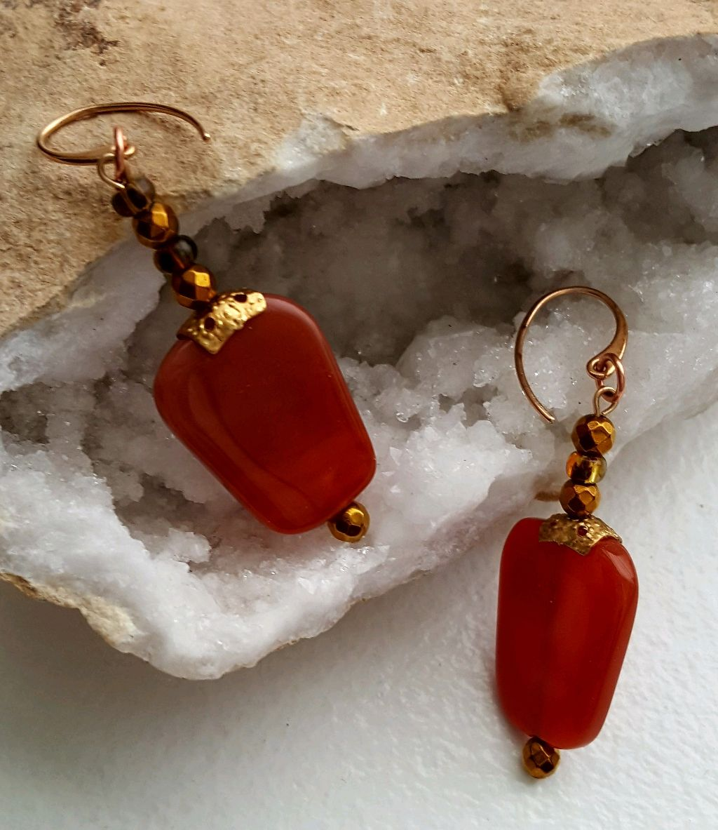 Red Carnelian chunks, bronze ear wires