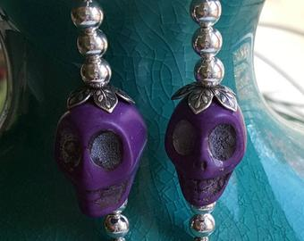Purple Howlite skulls, sterling beads, bead caps, sterling open wires