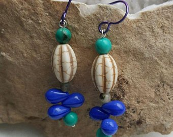 Fun and colorful blue-purple vintage glass beads, turquoise and white howlite beads on sterling wire, purple titanium ear wires