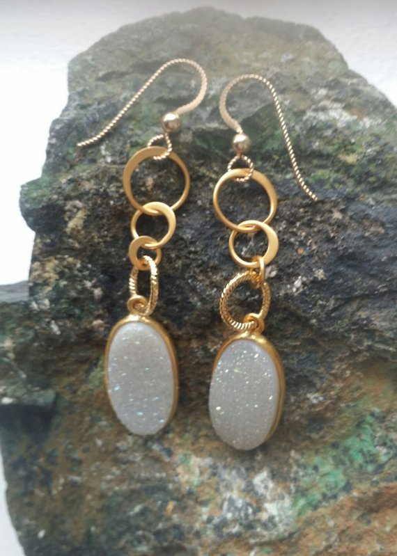 Beautiful oval white quartz Druzy drops, on brushed vermeil loops on gold filled ear wires