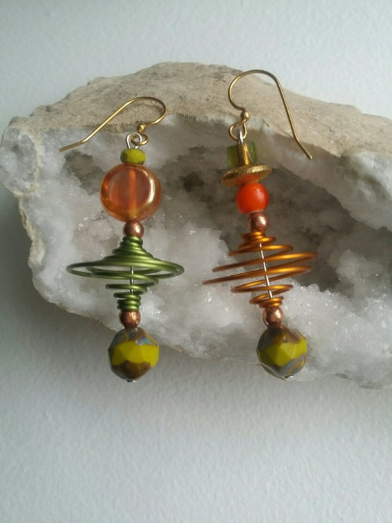 Green and orange aluminum swirls, agate drops, glass beads on brass ear wires