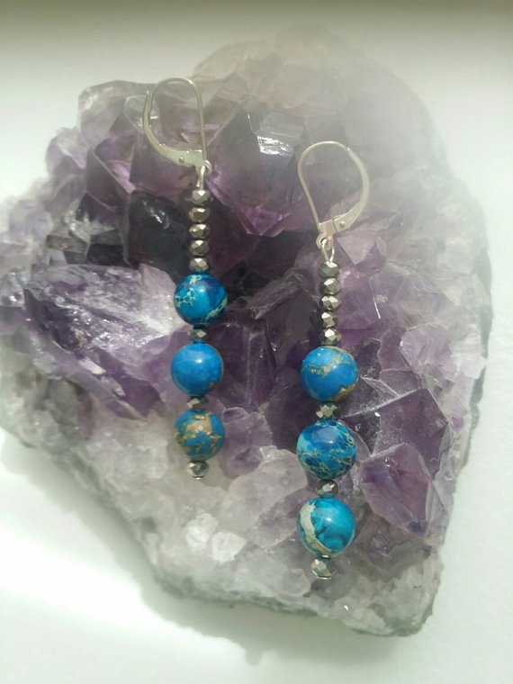 Lovely blue sea sediment 8mm jasper beads, silver crystal beads, on sterling ear wires
