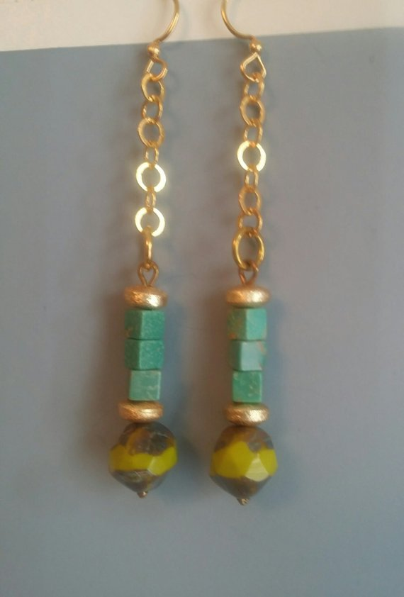 Long turquoise cubes, multi colored glass beads, gold over brass rondelle beads, on gold plated chain