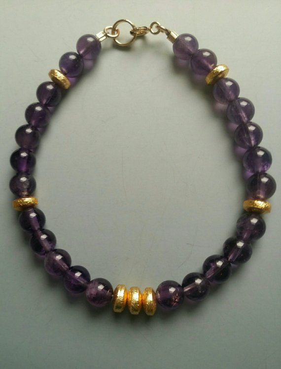 Amethyst bead bracelet with gold vermeil rondelle 6 mm beads, gold filled clasp, 7 1/4″