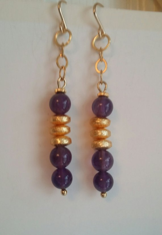 Amethyst beads, gold vermeil beads, on gold plated chain, gold filled ear wires, 2 1/2″