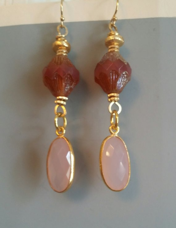 Oval faceted rose quartz drops, vintage pink/gold lucite beads on gold filled French ear wires