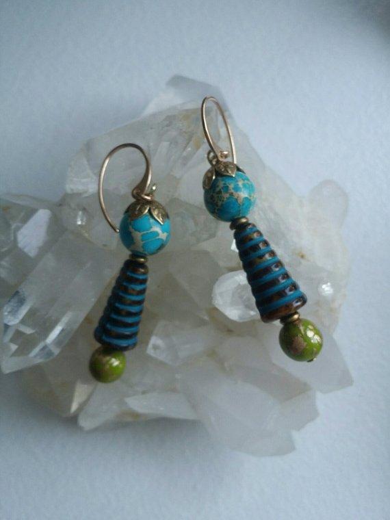 Blue Sediment Jasper, blue ceramic bead, green glass, bronze ear wires