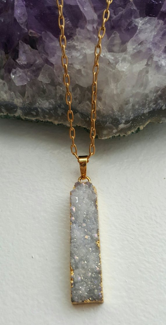 Beautiful grey drusy rectangular pendant dipped in 24K gold electroplating, on gold filled chain