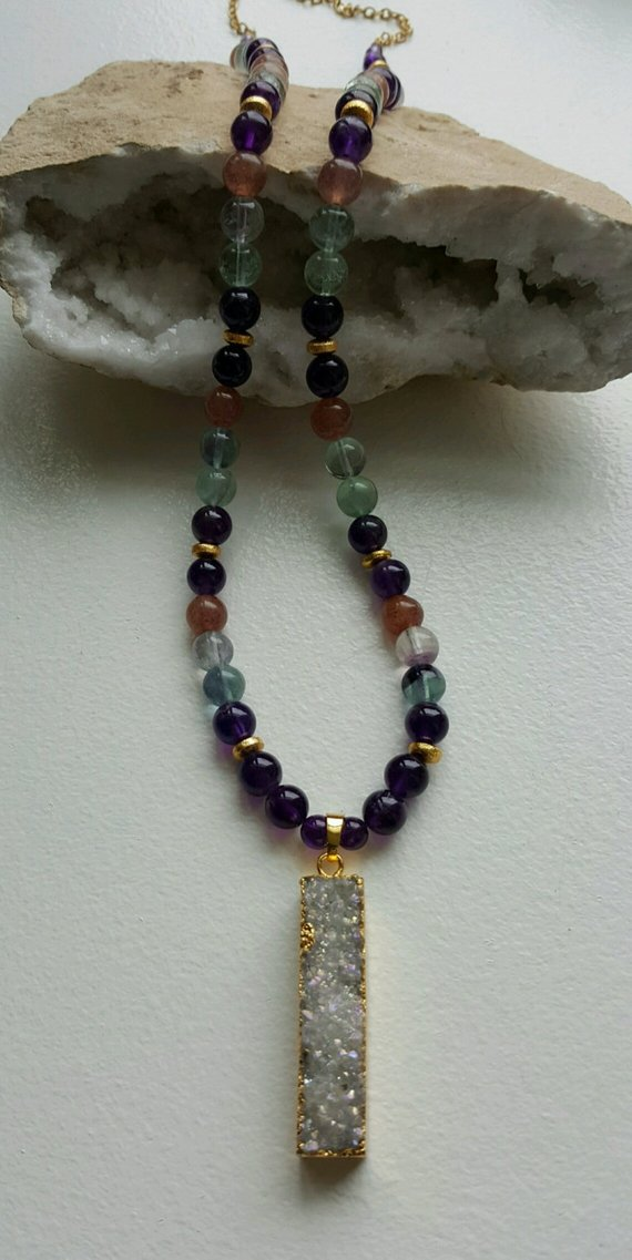 Large semi-precious stones, gold vermeil beads, large druzy drop pendant, GF chain