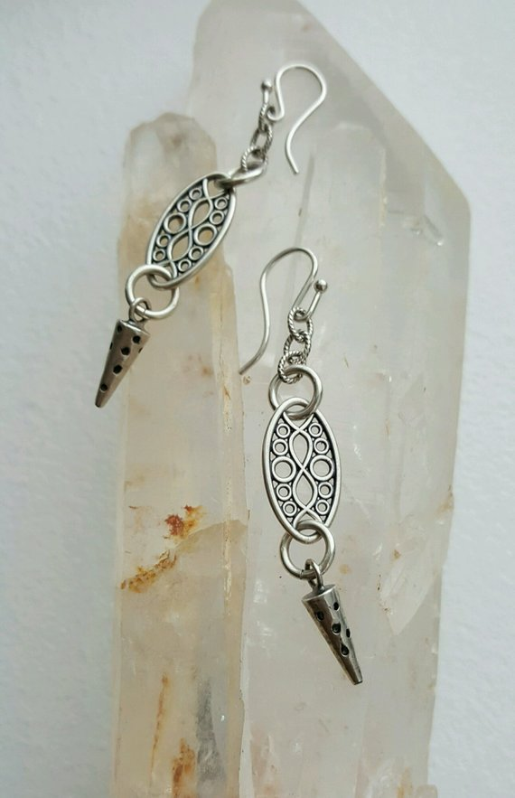 Sterling carved open connectors, sterling carved pointed cone drops, sterling links, on sterling French wires