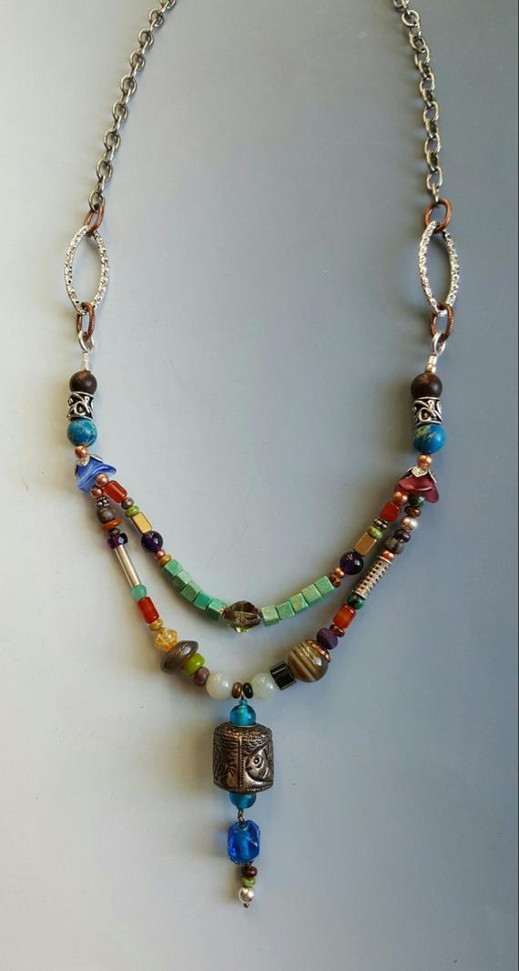 Beautiful muti stones, semi-precious, sterling, glass, copper, on silver chain, olde center dangle