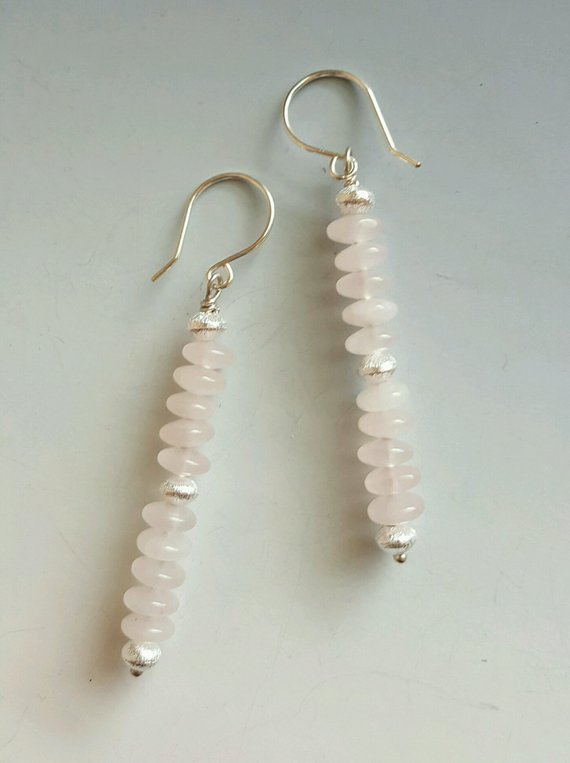 Lovely light Rose Quartz rondelle beads, frosted sterling beads, on round sterling ear wires