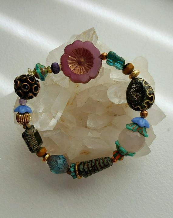 Vintage colorful Czech beads and faceted Rose Quartz, copper and vermeil beads on elastic