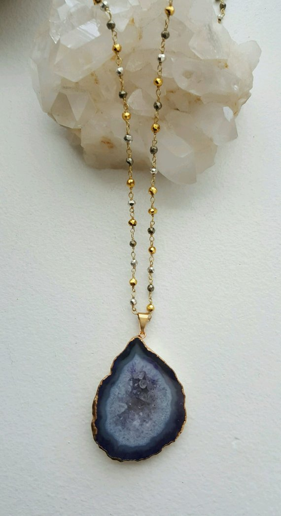 Beautiful Blue druzy pendant on multi colored Pyrite rosary chain
