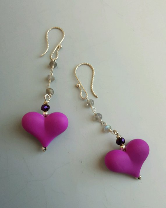 Beautiful pink-purple heart on labradorite chain, purple crystal beads, sterling ear wires