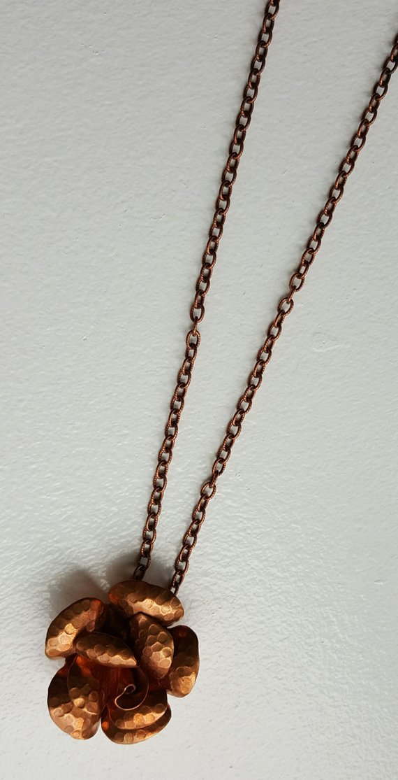 Lovely hammered copper flower on copper long chain