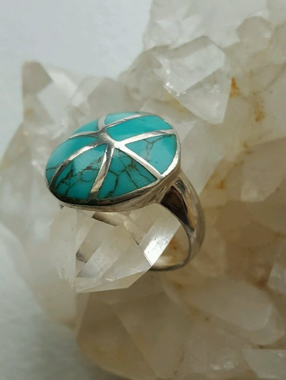Lovely turquoise composite and sterling rounded top ring