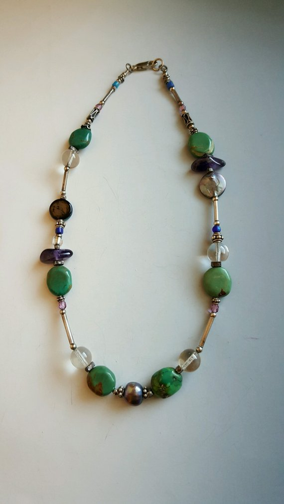 Short beautiful necklace, green turquoise beads, quartz beads, grey pearls, blue glass beads, sterling beads and lobster clasp