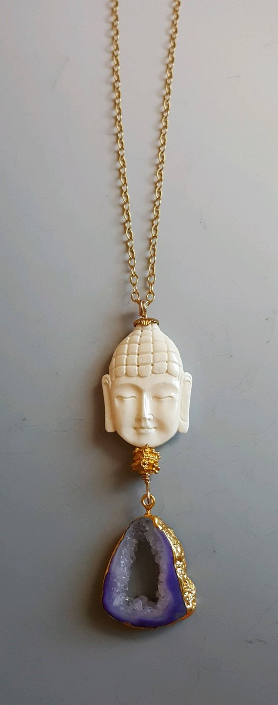 Wonderful hand carved bone Buddha, on gold filled wire, purple open druzy agate drop, 24K electroplated edges, on gold filled chain