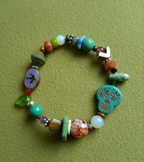 Multi colored stones, agates, vintage glass beads, Turquoise beads, sterling beads, all on elastic for comfort
