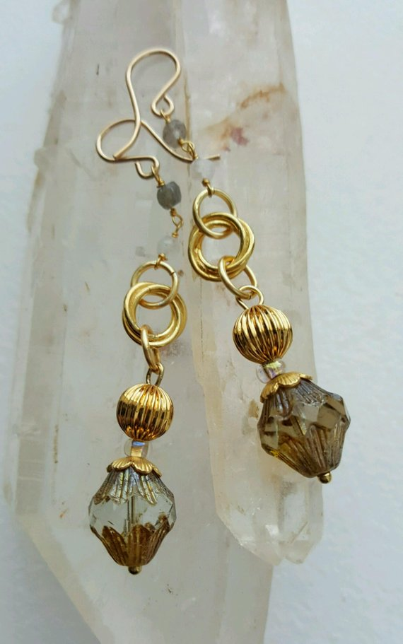 Long, lovely vintage glass drops, gold filled beads and disks, Labradorite chain o gold filled ear wires