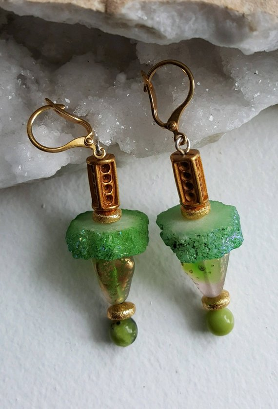 Green sliced stalactite quartz, green glass beads, gold vermeil beads, green agates, vintage textured tubes, all on gold filled lever backs