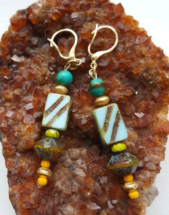 Multi-colored Vintage glass beads, gold vermeil beads, turquoise beads on gold filler lever backs