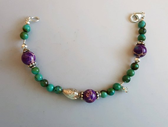 Turquoise and purple Sediment Jasper, sterling beads, CZ charm, sterling lobster clasp