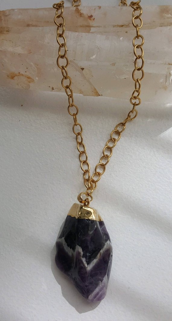 Amethyst with white linear quartz, called Chevron Amethyst. 24K electroplated cap, on large open linked brass chain