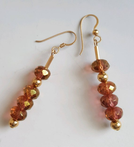 Cherry crystal faceted beads, gold filled beads, tubes and ear wires