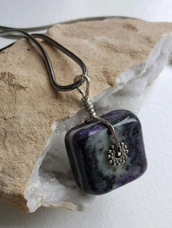 Large square Charoite stone, sterling square wire, heavy sterling snake chain