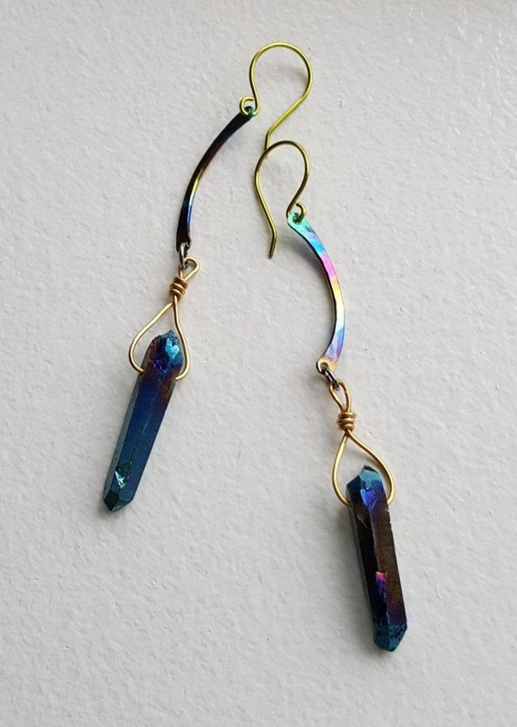 Titanium blue crystal drops, aluminum heat treated curved bars, green titanium ear wires