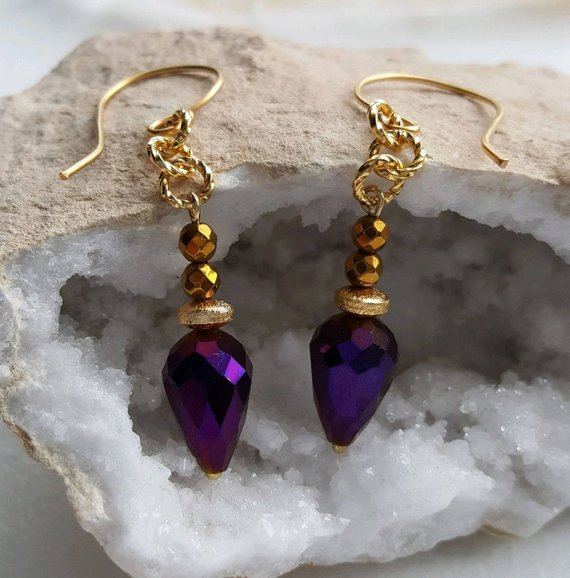 Beautiful purple faceted Swarovski teardrop crystal, gold vermeil beads and large ear wires