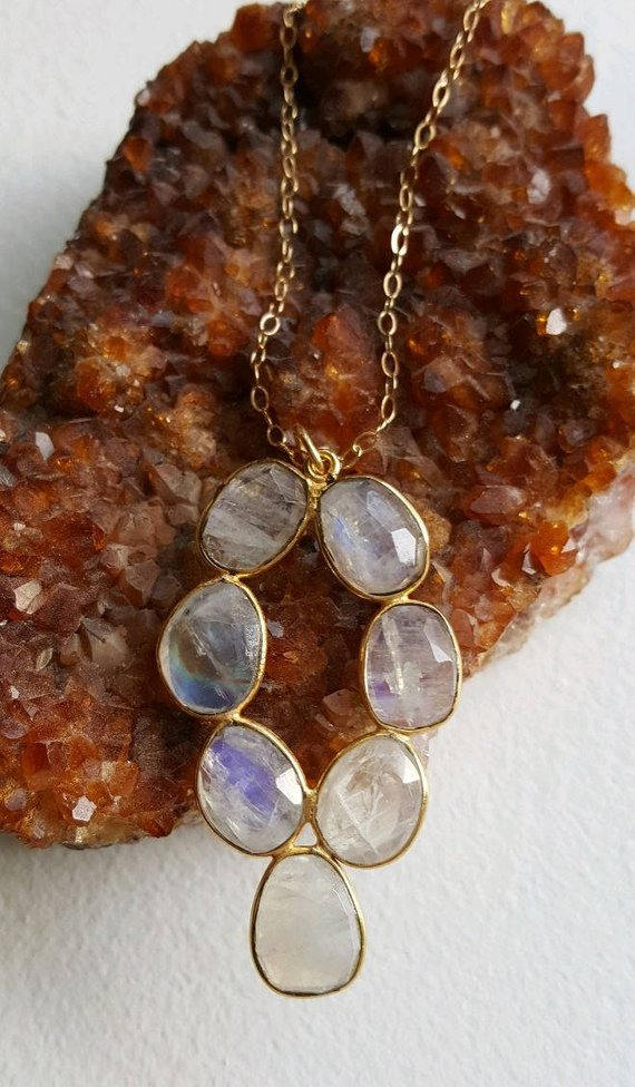 Beautiful multi-Rainbow Moonstone pendant on gold filled chain