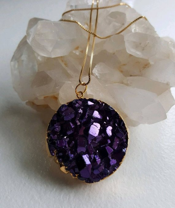 Purple quartz druzy round pendant, 24K electroplated edges, back and bail, GF chain