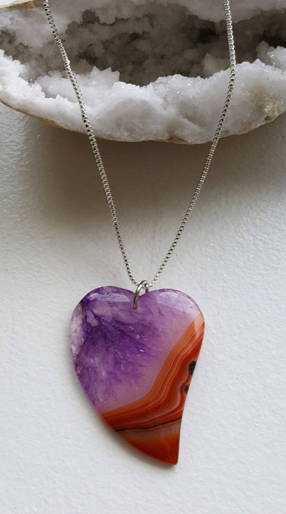 Purple druzy orange Agate, curved, with sterling box chain and clasp