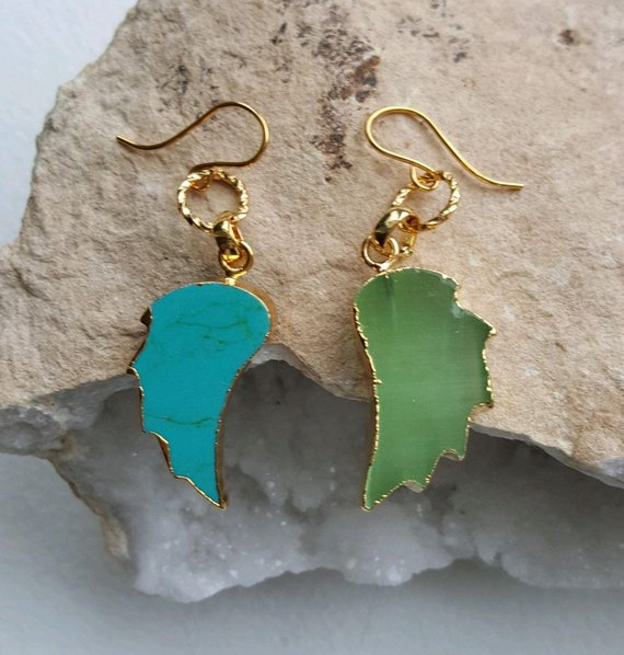 Blue and green leaf shaped chalcedony, with 24K electroplated edges, and gold filled ear wires