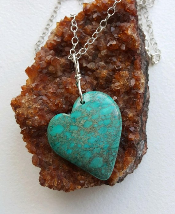 Turquoise Sediment Jasper heart, sterling bail and oxidized textured chain, clasp