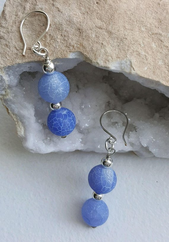 Beautiful sky blue crackle matt agate beads, sterling beads and wires