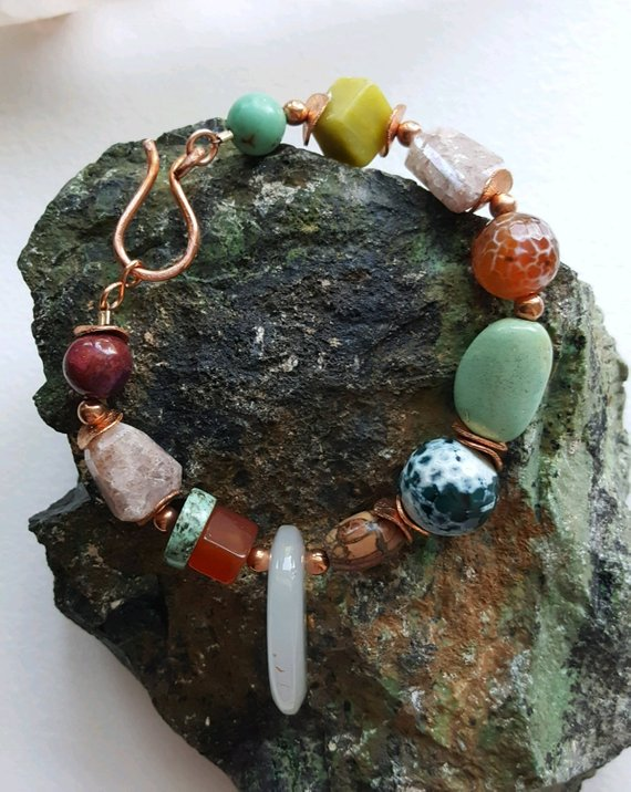 Large scale stones on copper wire with large S-hook. Green turquoise, muti-colored agates, single white milk agate charm, copper beads