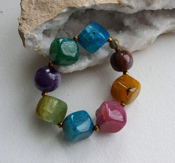 Large multi-colored agate cubed stones, single amethyst bead, on elastic