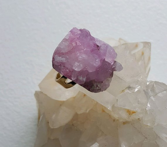 Light pink quartz with points,in gold plated setting, adjustable ring for sizes