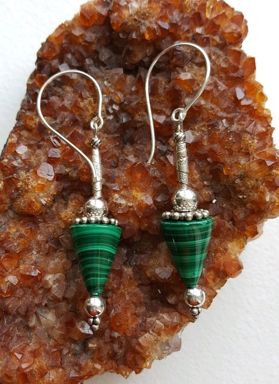 Beautiful Malachite cones, sterling beads and wrap beads, large sterling ear wires