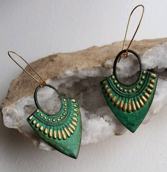 Lovely, large, light weight brass verdigri open earrings with gold painted trim on long brass ear wires