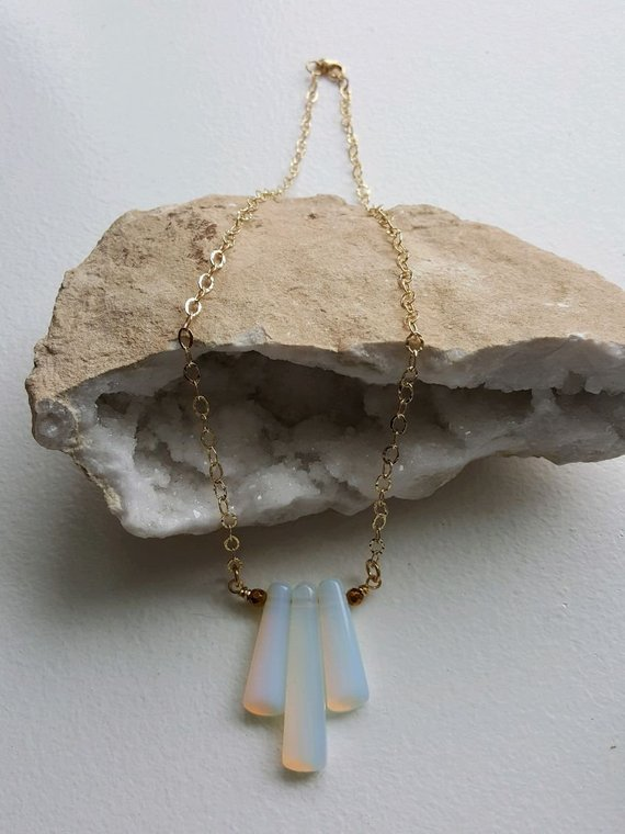 SOLD; can make another. Beautiful triple long bead Opalites, gold glass faceted beads on gold brass open link chain, gold filled clasp