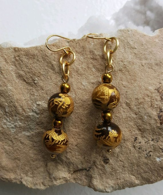 Beautiful carved large carved Tiger's Eye beads, double beads, gold glass beads, gold filled French ear wires