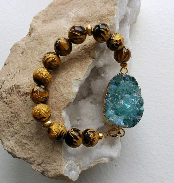Stunning blue druzy quartz center bead, carved Tiger's Eye beads, gold vermeil rondelles, gold filled clasp