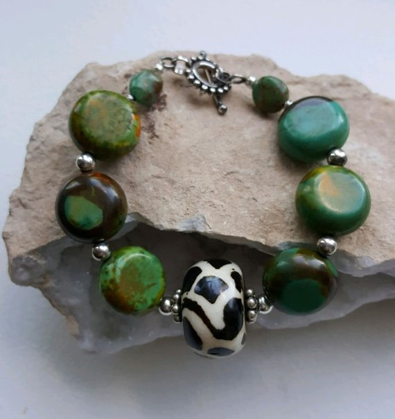 Stunning large scale green turquoise beads, sterling beads, large center batik beads, sterling toggle