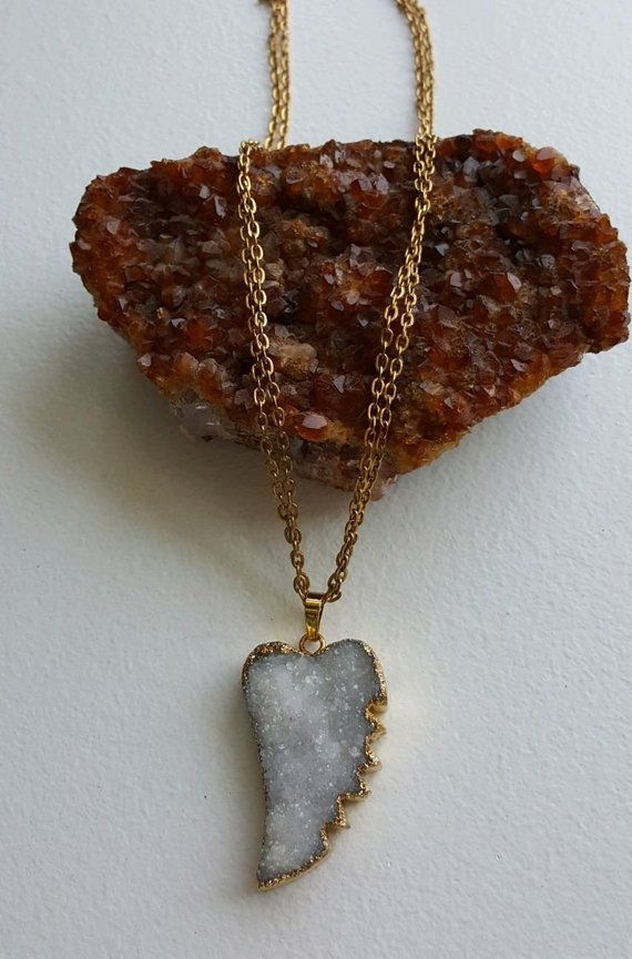 Large white druzy leaf, 24K electroplated edges and bail, on double gold brass chain, gold filled clasp