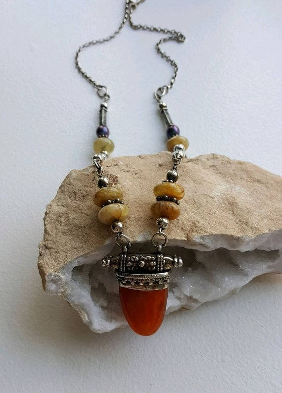 Beautiful double sided orange agate in ornate sterling setting, with agates, sterling beads, pearls, sterling chain